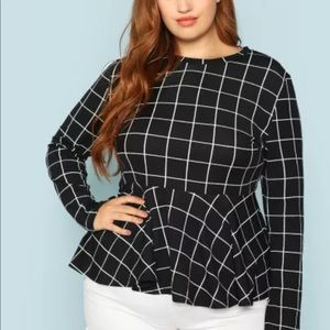 Tops - Grid print peplum top 🖤